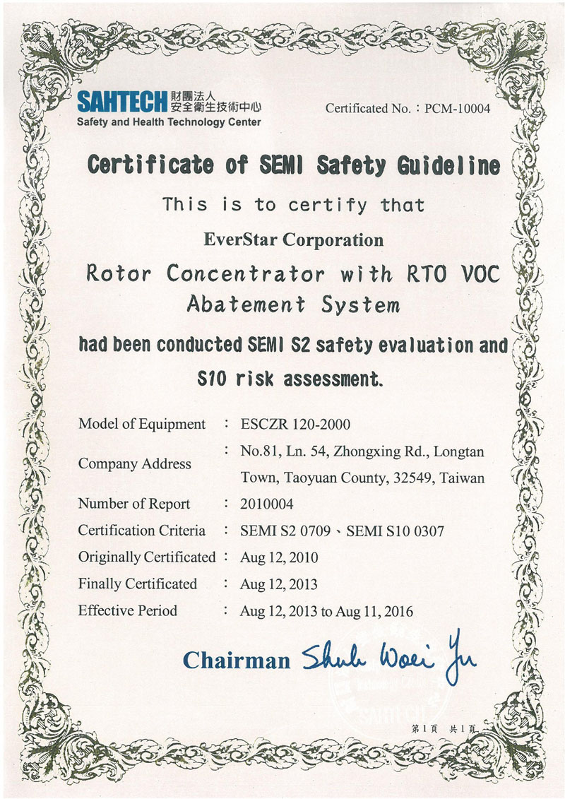 Certification Everstar Corporation